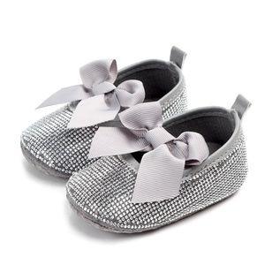 Silver Rhinestone Baby Bow Ballet Flats